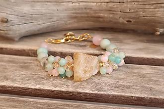 Náramky - Bohemian náramok z minerálov citrín, amazonit, ruženín, krištáľ - 12362195_