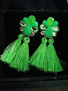 Náušnice - Neónové zelené náušnice - 12366115_