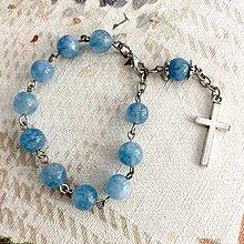 Náramky - Blue Jade Rosary Bracelet / Ruženec do auta alebo náramok s modrým jadeitom - 12364154_