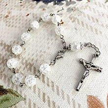 Náramky - Cracked Crystal Quartz Rosary Bracelet / Ruženec do auta alebo náramok s praskaným krištáľom - 12364195_