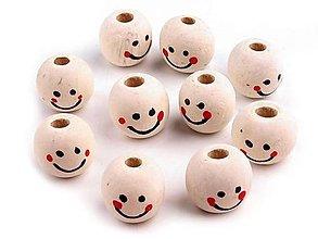 Korálky - Drevená korálka, tvár, úsmev, Ø 18 mm - 12363513_