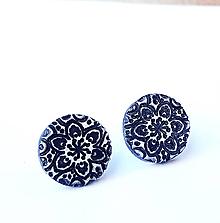 Náušnice - Polymérové puzetky so vzorom a patinou 10 - 12366140_
