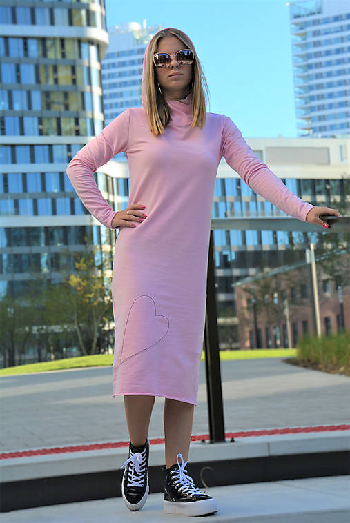 """Teplákové šaty Clara Pink """"mama a dcéra ❤️"""" s kapucňou a predĺženým rukávom"""