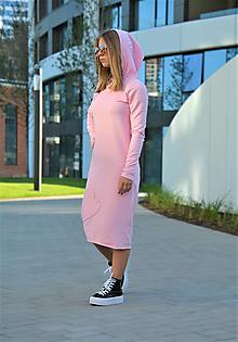 """Detské oblečenie - Teplákové šaty Clara Pink """"mama a dcéra ❤️"""" s kapucňou a predĺženým rukávom - 12364629_"""
