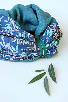 """Šatky - Veľký exkluzívny nákrčník z ľanu a kvetinovej bavlny """"GreenOleander"""" - 12363688_"""