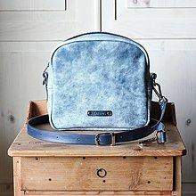 Kabelky - Dámska kožená kabelka *modrý mramor* - 12363603_