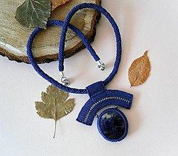 Náhrdelníky - Macramé náhrdelník Modrá obloha - 12363813_