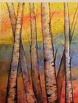 Obrazy - Brezy oranžovo-modré (originál) - 12363504_