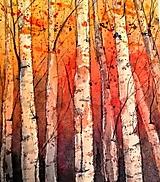 Obrazy - Brezy indigovo-oranžové (originál) - 12363817_