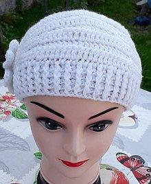 Čiapky - Háčkovaná čiapka Eliotka 3 biela - 12366020_