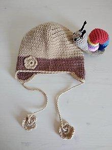 Detské čiapky - Hnedá háčkovaná čiapočka - 12363573_
