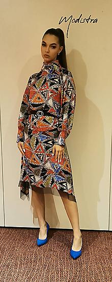 Šaty - Pestrofarebné saténové šaty - 12365263_