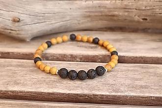Šperky - Pánsky náramok z minerálu onyx a santalové drevo - 12363763_