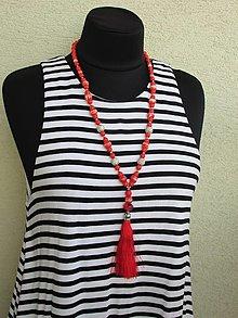 Náhrdelníky - Červený náhrdelník - 12363785_