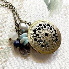 Náhrdelníky - Labradorite Moonstone Pearl Locket Necklace 3 in 1 / Otvárací medailón s minerálmi - 12367686_