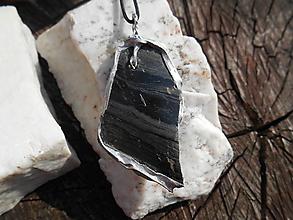 Šperky - Black obsidian-Tiffany Art-prívesok - 12370078_