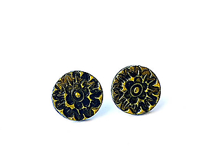Náušnice - Polymérové puzetky so vzorom a patinou 8 - 12367858_