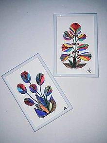 Obrazy - Kvet 1,maľba, tempera, 10,7x15,7 cm - 12367576_