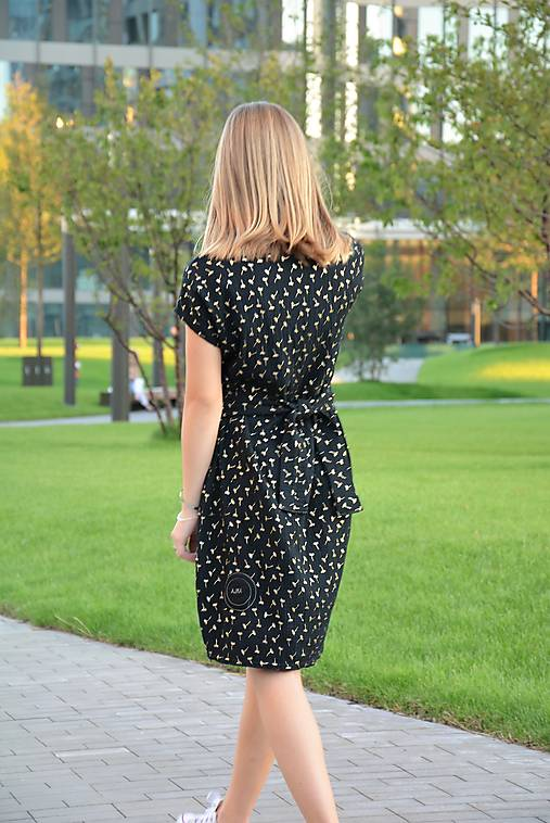 Mušelínové šaty/tunika Mirra Black s opaskom