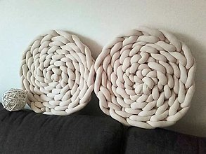 Úžitkový textil - KNOT vankúšik - podsedák LATTÉ - 12367591_