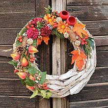 Dekorácie - Veľký jesenný drevený veniec (XL) - 12370061_
