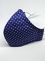Rúška - Bavlnené rúško na tvár, bodky na modrej - všetky veľkosti (Pánske biela antibakteriálna bavlna so striebrom) - 12369649_