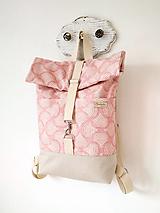 Batohy - Rolltop batoh ružový s vlnkami - 12366838_