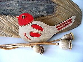 Odznaky/Brošne - vtáčik jesenný-brošňa(v červenej) - 12368656_