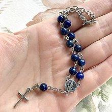 Náramky - Lapis Lazuli Rosary Bracelet / Ruženec do auta alebo náramok s lazuritom - 12371336_