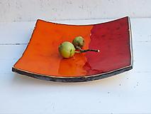 Nádoby - Keramická misa moderná červeno-oranžová - 12373412_