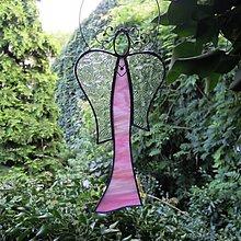 Dekorácie - Vitrážový anděl růžový - 12373238_