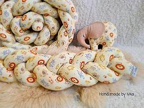 Textil - AKCIA : Detský pletený  mantinel - vrkoč  +  mojkáčik sloník  /240cm/ - 12372140_