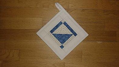Úžitkový textil - Chňapka béžovo-modrá (trojuholník) - 12373399_