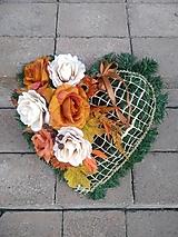 Dekorácie - srdce na hrob v jesenných farbách 40 cm - 12372892_