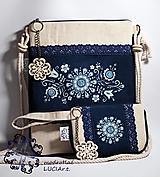 Kabelky - Mini kabelka modrotlač Výšivka - 12370483_