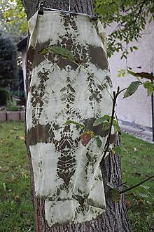 Šály - silk carf_hodvábna šála 180x45cm batik_green - 12371686_