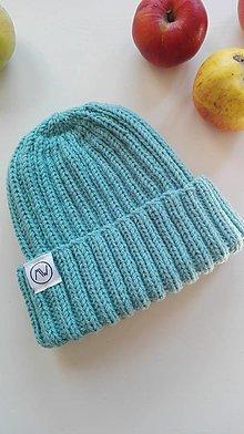 Detské čiapky - Detská čiapka s pružným vzorom (Tyrkysová) - 12373947_