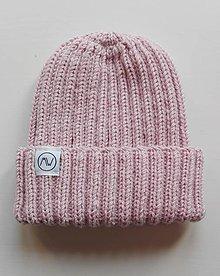 Detské čiapky - Detská čiapka s pružným vzorom (pudrová ružová) - 12373956_