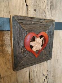 Obrazy - obraz s rámom zo starého dreva- anjel v srdci - 12371463_