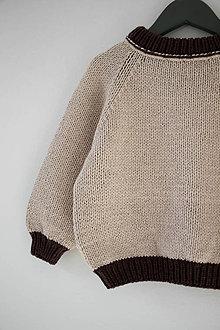 Detské oblečenie - Sveter Natália vo farbe Beige/Dark Brown - 12370559_