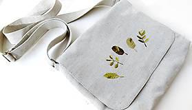Kabelky - Vyšívaná taška Lístky - 12372911_