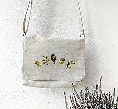 Kabelky - Vyšívaná taška Lístky - 12372908_