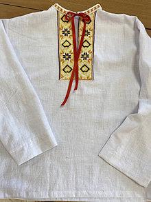 Košele - Ľanová košeľa s výšivkou  - 12371420_