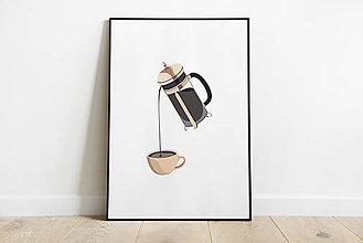 Grafika - Coffee print, minimalistický poster_french press - 12372952_