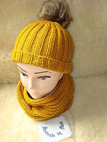 Čiapky - Ručne pletená čiapka so šálom /pán , dáma / - 12377076_