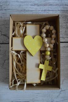 Dekorácie - Set krížik a ruženec - svetlá žltá - 12377151_