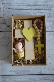 Dekorácie - Set krížik a ruženec a anjelik - 12377239_