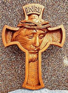 Grafika - Drevorezba Ježiš na kríži 3 - 12377218_