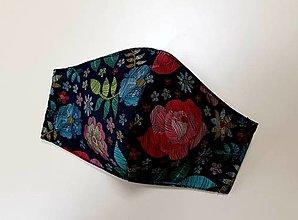 Rúška - Dizajnové bavlnené rúško (Potlač - španielska vyšivka) - 12377846_