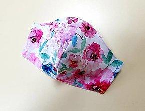 Rúška - Dizajnové bavlnené rúško (Ružovo modré ruže) - 12377863_